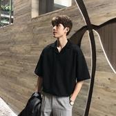 9折起 HUALUN自制/夏季短袖襯衫男五分袖寬鬆韓版ifashion襯衣T恤polo衫