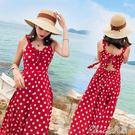 沙灘裙女夏波西米亞海邊度假巴厘島中長款雪紡波點洋裝七色堇