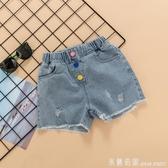 女童牛仔短褲夏薄款洋氣韓版2020兒童中大童寬鬆熱褲百搭時髦褲子