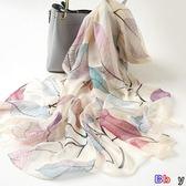 【Bbay】絲巾 真絲 綢絲巾 桑蠶絲 紗巾 長款披肩 防曬 薄款 長圍巾