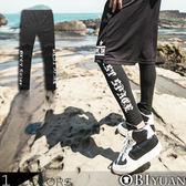男內搭褲【JG2317】OBI YUAN韓版哥德文字母印花彈性內搭休閒褲