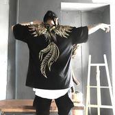 潮新款鳳凰翅膀短袖男女情侶寬鬆嘻哈hiphop上衣T恤【格林世家】