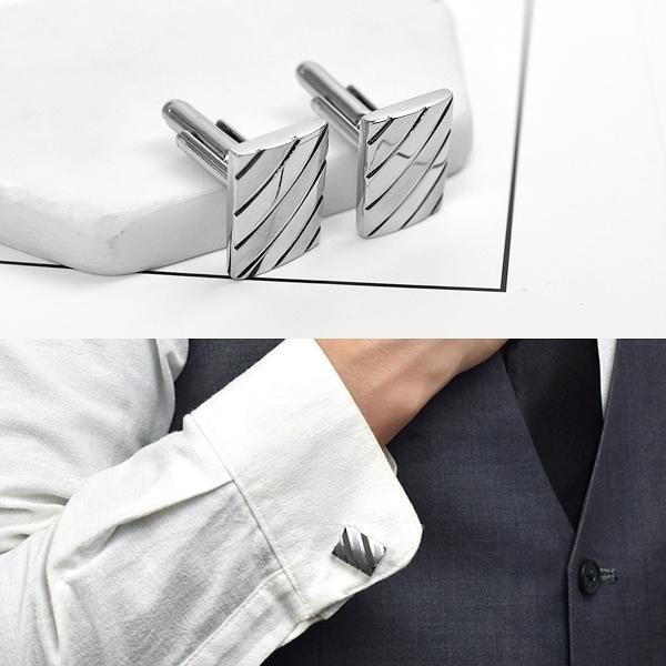 袖扣 斜線俐落銀扣【NCD1】
