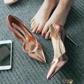 高跟貓跟鞋夏季新款尖頭高跟鞋細跟側空OL漆皮女鞋淺口百搭香檳銀色單鞋涼鞋 母親節禮物
