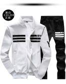 Y-8韓版棒球領修身拉鏈休閒運動套裝-白《P5009》