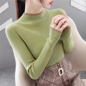 高領毛衣 半高領毛衣打底衫女2020年秋冬裝新款長袖內搭洋氣針織衫百搭上衣-米蘭街頭