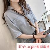 雪纺短袖 襯衫設計感小眾2020夏季女裝雪紡衫上衣寬鬆條紋領帶大碼短袖襯衣
