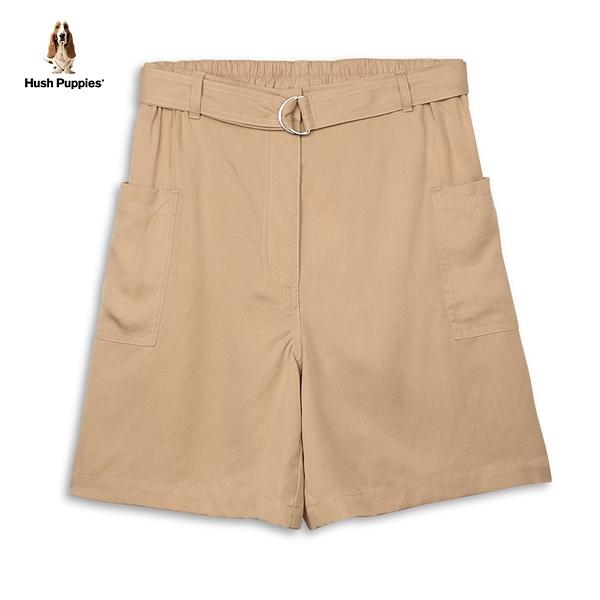 Hush Puppies 短褲 女裝天絲棉後鬆緊腰寬版短褲(附D型環腰帶)