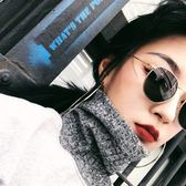 原宿復古風細邊圓框太陽眼鏡女圓臉素顏墨鏡女潮網紅眼鏡 范思蓮恩