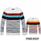[現貨]【QZZZ86025】韓版亮彩時尚三色條紋造型百搭圓領長袖針織衫 二色
