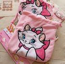 日本迪士尼瑪麗貓全身粉紅刺繡毛絨束口袋 抽繩袋 收納袋 大容量多功能收納 交換禮物 貓迷