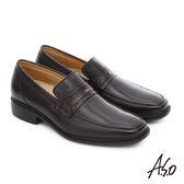 A.S.O 輕旅健步 純羊皮直套式奈米氣墊皮鞋  咖啡