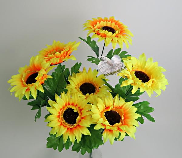 黃色 7頭仿真向日葵 太陽花 人造花花束☆插花.居家.店面.櫥窗擺飾.園藝☆