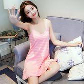 睡衣女夏正韓甜美清新可愛學生吊帶睡裙棉質性感中裙可外穿家居服 限時八八折最後三天