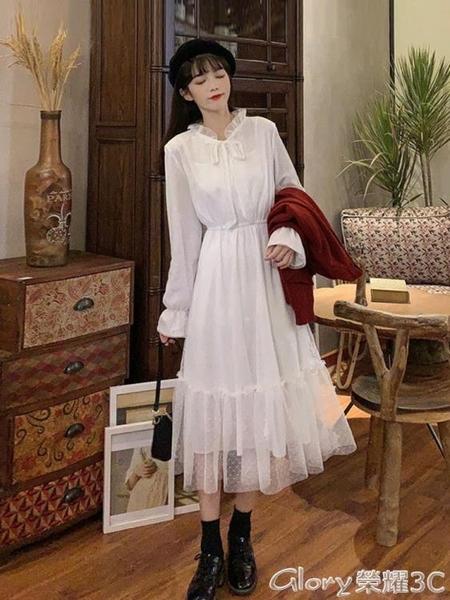 蕾絲長裙 2021秋裝新款蕾絲網紗仙女裙收腰顯瘦氣質長袖連身裙女中長款裙子 榮耀