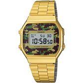 CASIO 復刻復古造型電子錶-金(A168WEGC-3D)