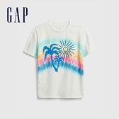 Gap男童 純棉紮染印花短袖T恤 689818-白色