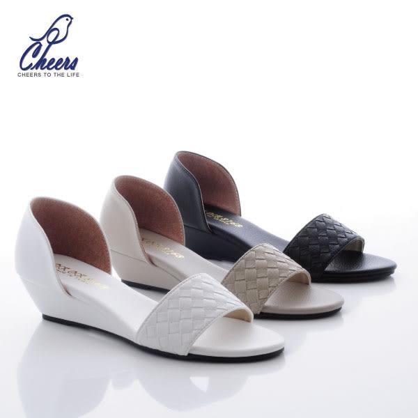 跟鞋。鵲兒cheers*編織面設計小坡跟涼鞋-三色 現貨 【W8896】
