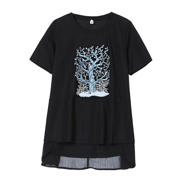 藍樹印花拼雪紡後長上衣 M~4XL【643193W】【現+預】-流行前線-