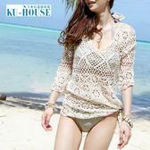 沙灘防曬衣鏤空比基尼罩衫鉤花性感罩衣韓國女士bikini泳衣外搭第七公社