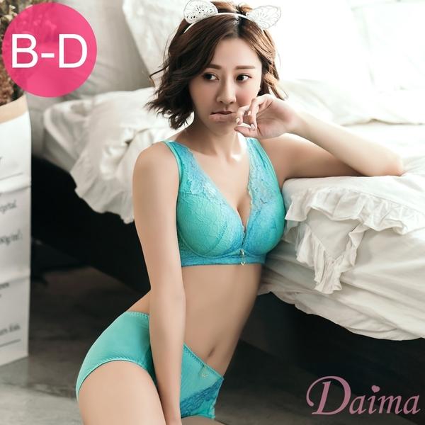 黛瑪Daima (B-D)低脊心雙色刺繡骨線蕾絲提托無鋼圈成套內衣_綠9110