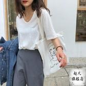 棉麻上衣 低領白色短袖t恤女寬鬆2020年夏季亞麻純色v領棉麻u領大領口上衣-快速出貨