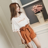 套裝 款韓版雪紡衫短袖女寬鬆闊腿短褲套裝休閒學生兩件套潮