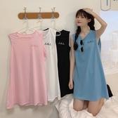 夏季2020新款韓版寬鬆學生休閒百搭中長款外穿刺繡無袖T恤背心女