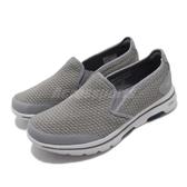 Skechers 休閒鞋 Go Walk 5-Apprize 灰 藍 健走鞋 懶人鞋 舒適緩震 男鞋 運動鞋【PUMP306】 55510LGBL