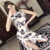 旗袍2020年夏季新款改良版少女中長款時尚復古旗袍年輕款氣質連身裙潮 童趣屋