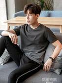 唐獅t恤男短袖夏季新款男生半袖純色圓領上衣韓版男裝漸變衣服潮