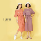 PUFII-洋裝 炫光字母腰抽繩側口袋長...