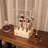 化妝刷收納筒透明美妝刷子桶收納盒翻蓋桌面防塵刷具桶收納盒