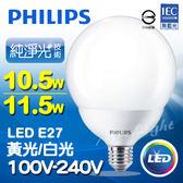 【有燈氏】PHILIPS 飛利浦 LED E27 10.5W 11.5W 大圓珍珠 球型 球泡 燈泡【LED-E27G120】