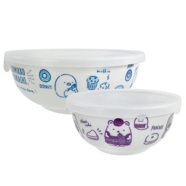 小禮堂 角落生物 陶瓷保鮮碗2入組 附蓋 (藍紫色款) 5983164-12290