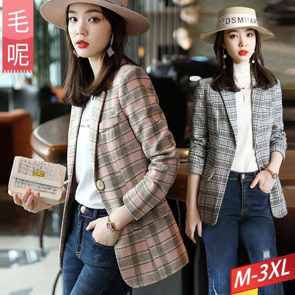 毛呢格紋撞色西裝外套口袋(2色) M-3XL【996362W】【現+預】-流行前線-