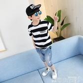 左西童裝男童短袖t恤夏裝新款兒童半袖體恤條紋中大童韓版潮可卡衣櫃