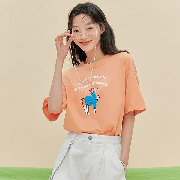 T恤 卡通印花質感五分袖T恤MX10390-創翊韓都