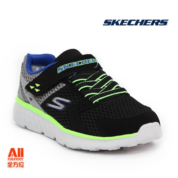 【Skechers思克威爾】】童款休閒鞋 GO RUN 400-黑綠色 (97680LBKCC)全方位運動戶外館