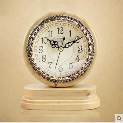 凱樂絲歐式實木台鐘創意座鐘客廳臥室靜音簡約時鐘錶個性裝飾擺件