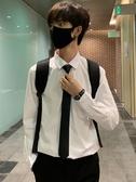 襯衫領帶白襯衫男士長袖韓版青年痞帥短袖襯衣休閒潮流帥氣網紅衣服 聖誕交換禮物
