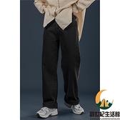復古黑色牛仔褲女寬鬆高腰直筒拖地褲老爹褲【創世紀生活館】