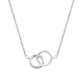 925純銀項鍊+鋯石吊墜-鏤空雙環相扣簡約女飾品74aq23【巴黎精品】