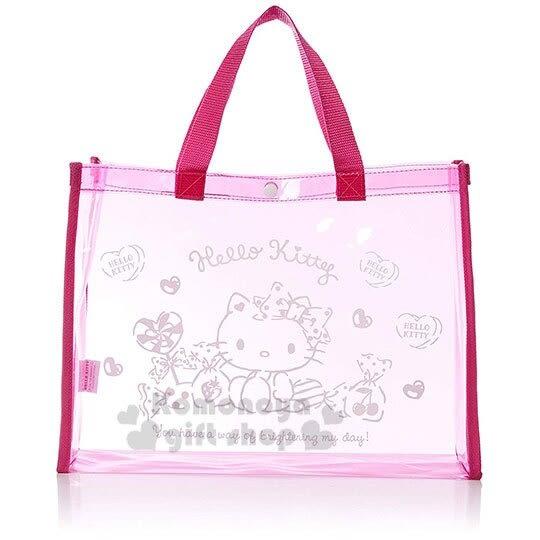 〔小禮堂〕Hello Kitty 防水海灘袋側背袋《桃.糖果》肩背袋.透明泳袋 4990270-11985