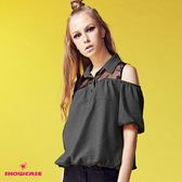 【SHOWCASE】蕾絲襯衫領挖肩縮腰短袖上衣(黑)