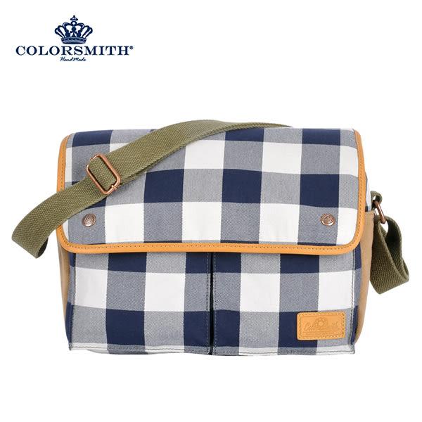 【COLORSMITH】CC・雙口袋斜背包-藍灰格紋・CC1072-GB