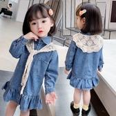 女童牛仔洋裝 女童秋裝2020新款韓版小童洋氣藍色牛仔裙子秋季女寶寶長袖連身裙 中秋節