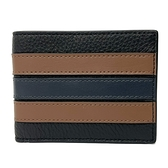 【COACH】男款牛皮6卡對折輕便短夾禮盒(黑/咖橫紋)