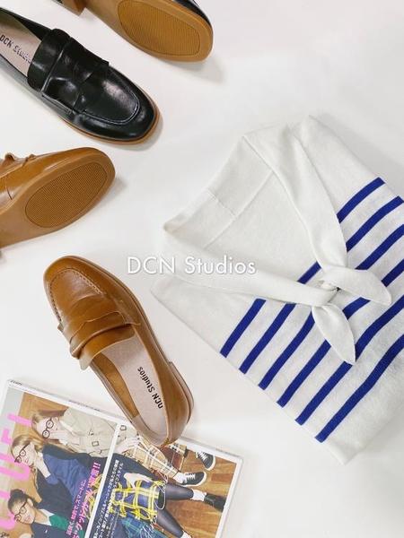 條紋針織上衣海軍風好穿復古法式藍白條紋領結針織中長袖上衣1F064-A.胖丫