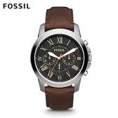 FOSSIL Grant 深褐色黑色錶面皮革手錶 男 FS4813